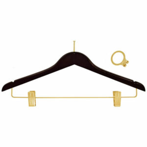 ANTI THEFT HANGER, MAHOGANY FEMALE BRASS