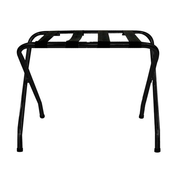 STAINLESS STEEL LUGGAGE RACK, BLACK WITH BLACK STRAPS