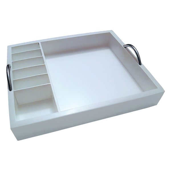 TRAY WITH CHROME HANDLES